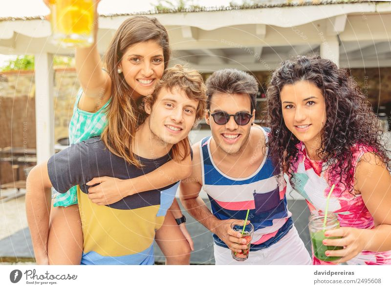 Group of young people having fun in summer party Woman Human being Vacation & Travel Man Summer Beautiful Green Joy Adults Lifestyle To talk Laughter Happy