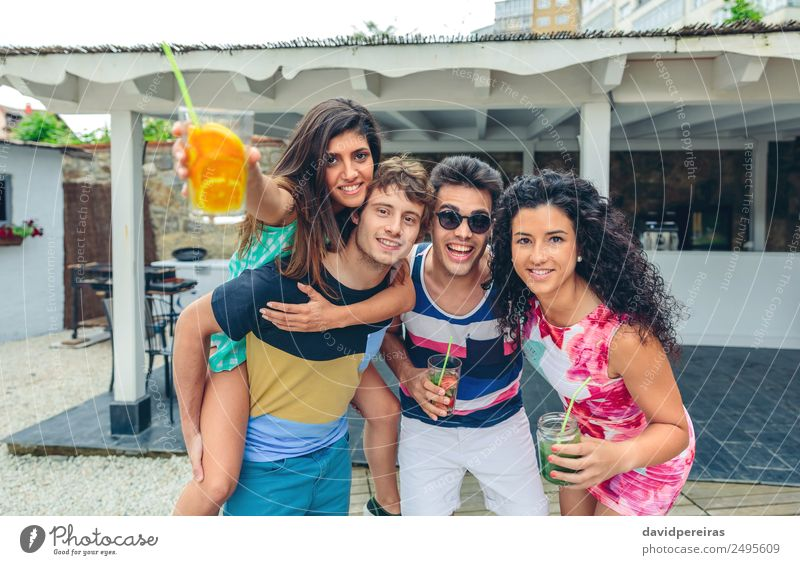 Young people having fun in summer party outdoors Woman Human being Vacation & Travel Man Summer Green Joy Adults Lifestyle To talk Laughter Happy Garden
