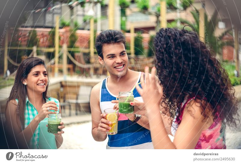 Young people laughing and drinking in summer party Vegetable Fruit Beverage Lifestyle Joy Happy Leisure and hobbies Vacation & Travel Summer Garden