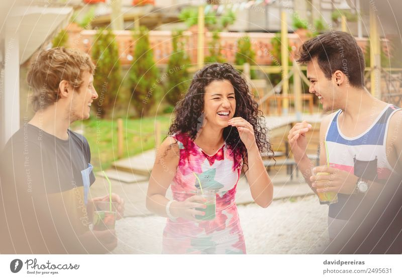 Group of young people laughing in summer party Vegetable Fruit Beverage Lifestyle Joy Happy Beautiful Leisure and hobbies Vacation & Travel Summer Garden