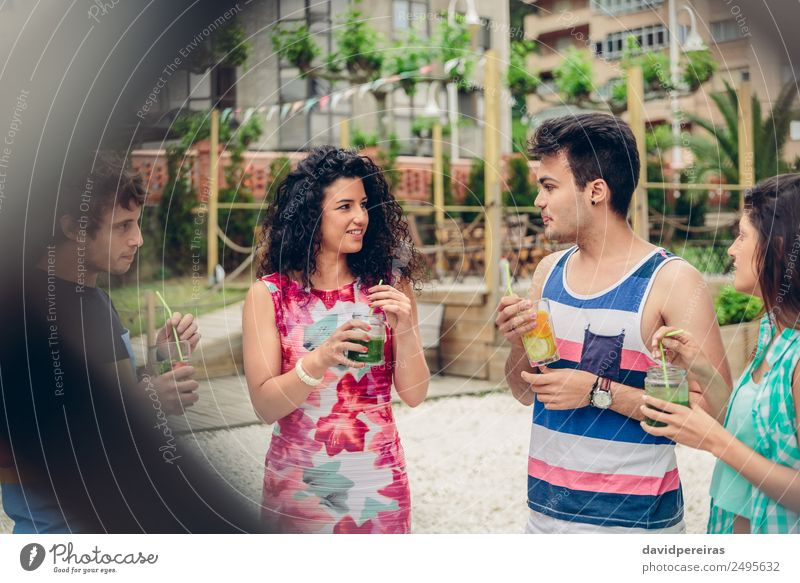 Young people talking and drinking in summer party Vegetable Fruit Beverage Lifestyle Joy Happy Leisure and hobbies Vacation & Travel Summer Garden