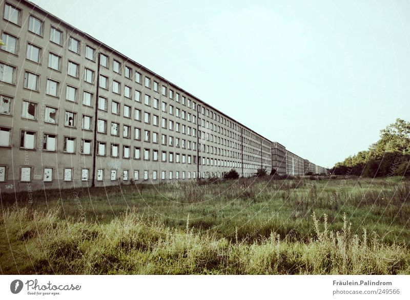 Boundlessness? Cloudless sky Prora Ruin Manmade structures Building Prefab construction Concrete block Wall (barrier) Wall (building) Facade Window Old Threat