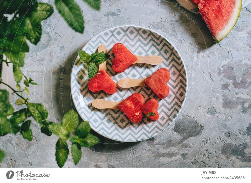 Heart-shaped slices of watermelon Summer Red Love Feasts & Celebrations Fruit Fresh Table Symbols and metaphors Breakfast Refreshment Plate Baked goods Meal