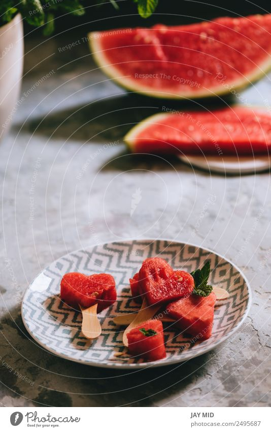 Heart-shaped slices of watermelon Food Fruit Nutrition Eating Emphasis Water melon Plate Delicious Summer Summery Red Interior shot Deserted Copy Space top