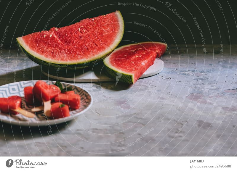 slices of watermelon Summer Red Love Food Feasts & Celebrations Fruit Nutrition Fresh Table Symbols and metaphors Breakfast Refreshment Plate Baked goods Meal