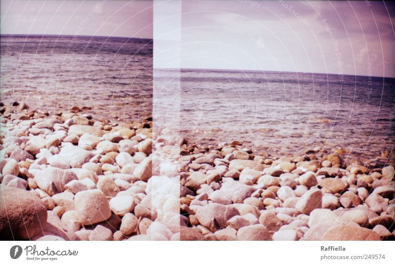 double holds better Calm Vacation & Travel Trip Far-off places Summer Beach Ocean Waves Water Sky Clouds Life Double exposure Stone Pebble beach Violet