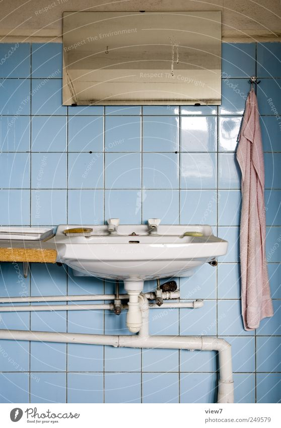 bathroom Redecorate Moving (to change residence) Arrange Room Bathroom Mirror Stone Line Stripe Old Cheap Esthetic Loneliness Arrangement Pure Decline Past
