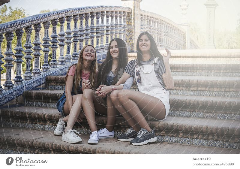 Three Beautiful Young Women Lifestyle Human being Feminine Young woman Youth (Young adults) Woman Adults Friendship 3 18 - 30 years Plant Beautiful weather Tree