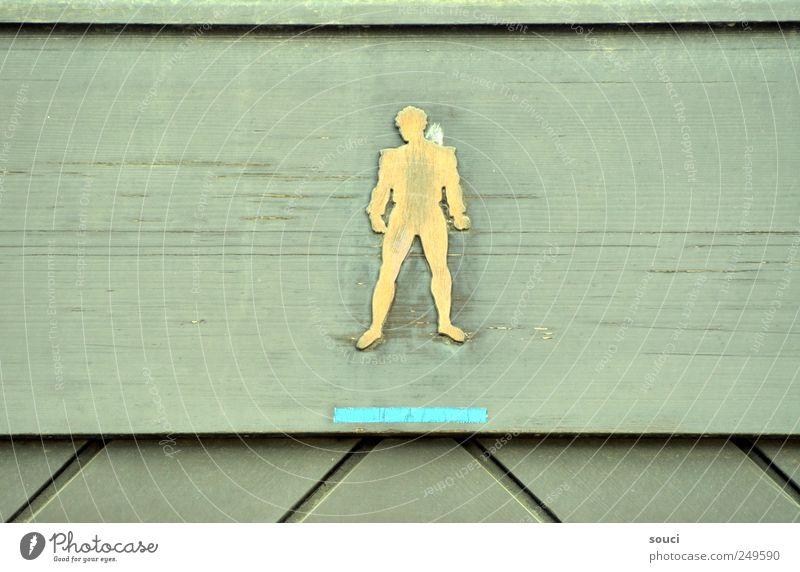 men only Toilet Man Adults Door Wood Sign Signs and labeling Signage Warning sign Clue Esthetic Yellow Green Colour photo Subdued colour Exterior shot Detail