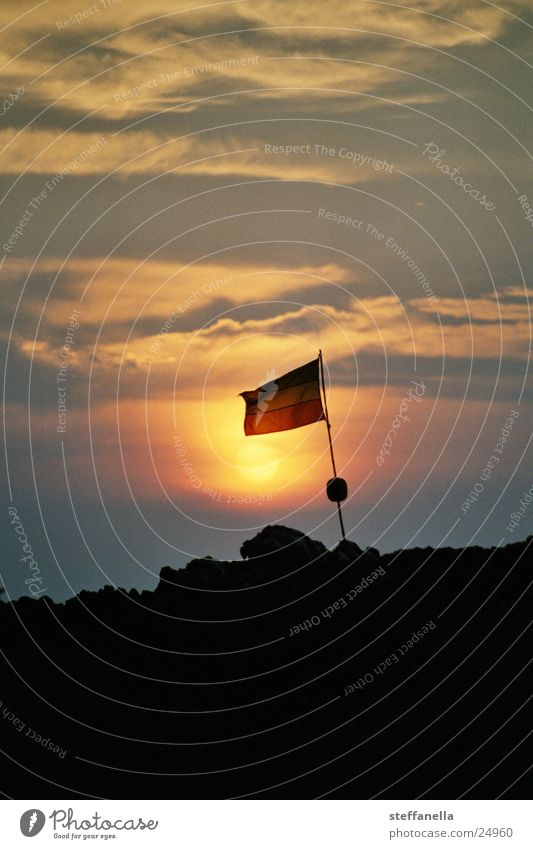 jamaica sunset Sunset Moody Colour Evening Evening sun Dusk Ensign Copy Space top Bright background Silhouette Copy Space bottom Blow