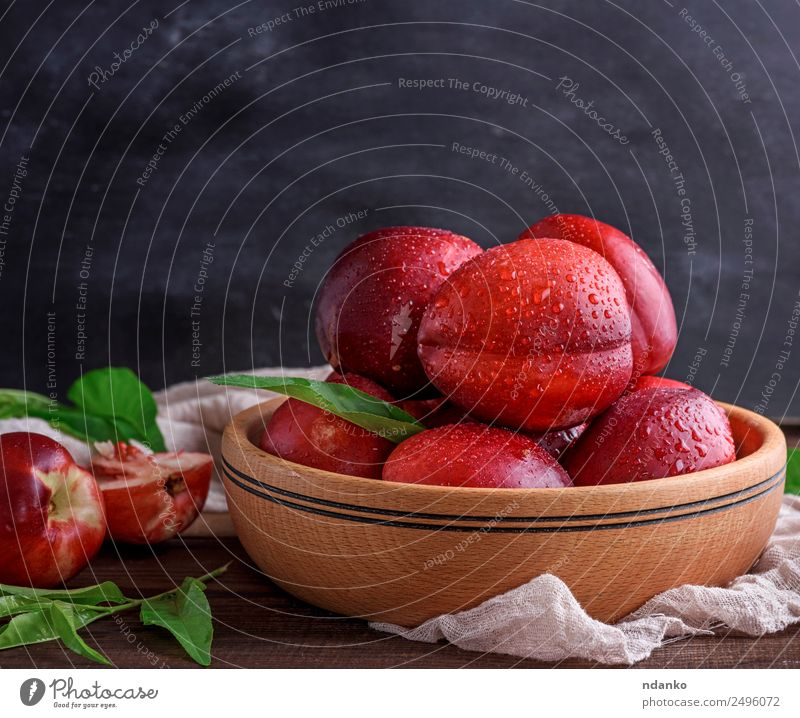 ripe peaches nectarine Fruit Dessert Nutrition Plate Bowl Summer Table Leaf Wood Eating Fresh Juicy Brown Red Black Mature Peach Nectarine background food