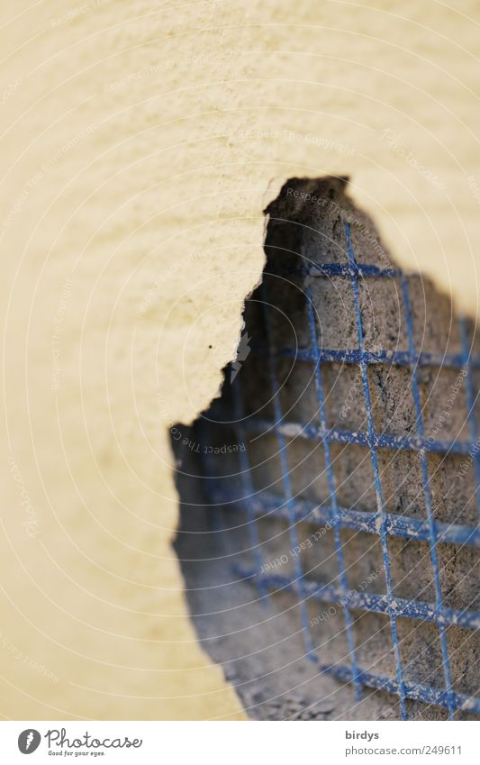 Blue Yellow Gray Dye Facade Broken Change Exceptional Net Under Decline Craft (trade) Plaster Hollow Reticular Reinforcement