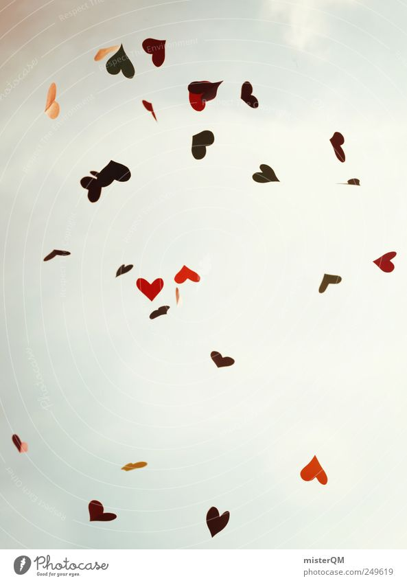Red Love Emotions Art Wind Flying Heart Design Esthetic Many Creativity To fall Blow Lovesickness Life Heavenly