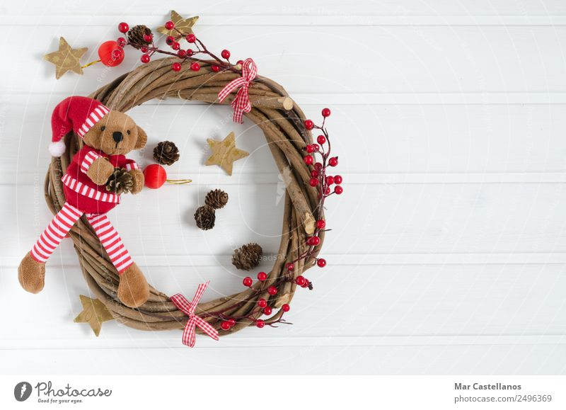 Handmade Christmas wreath with teddy bear Christmas & Advent White Red Winter Wood Feasts & Celebrations Decoration Table Write Advertising New Year's Eve
