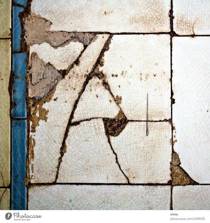 Old White Blue Jump Stone Broken Tile Square Historic Shabby Crack & Rip & Tear Parallel Seam Mortar Varnished Patina