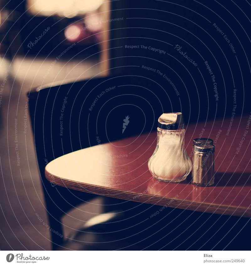 Coffee, please! Table Beautiful Salt caster Chair Café Restaurant Moody Sugar caster Subdued colour Interior shot Deserted Copy Space top