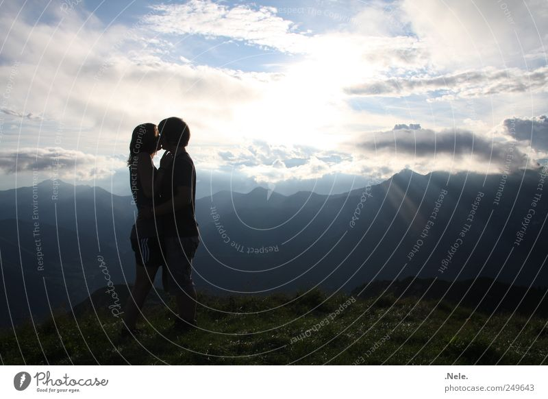 a ray of hope. Human being Young woman Youth (Young adults) Young man Couple Partner 2 18 - 30 years Adults Nature Landscape Sky Clouds Sunlight Weather Touch