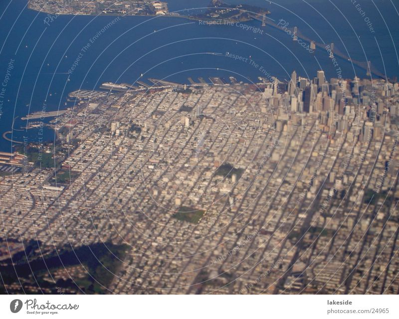 City Aerial photograph Airplane Bridge Aviation USA Americas Downtown California San Francisco