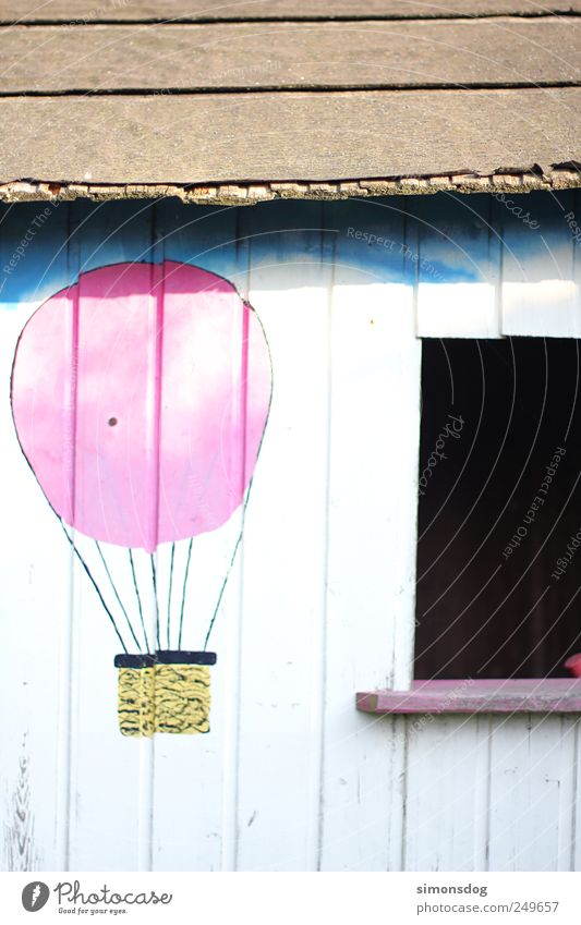 dream house Playing House (Residential Structure) Garden Hut Facade Window Roof Flying Illuminate Old Dirty Retro Adventure Discover Wooden wall Hot Air Balloon