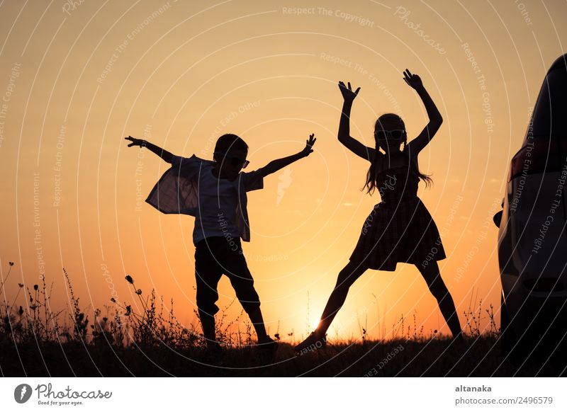 Happy children playing in the park Lifestyle Joy Leisure and hobbies Vacation & Travel Trip Adventure Freedom Camping Summer Sports Child Human being