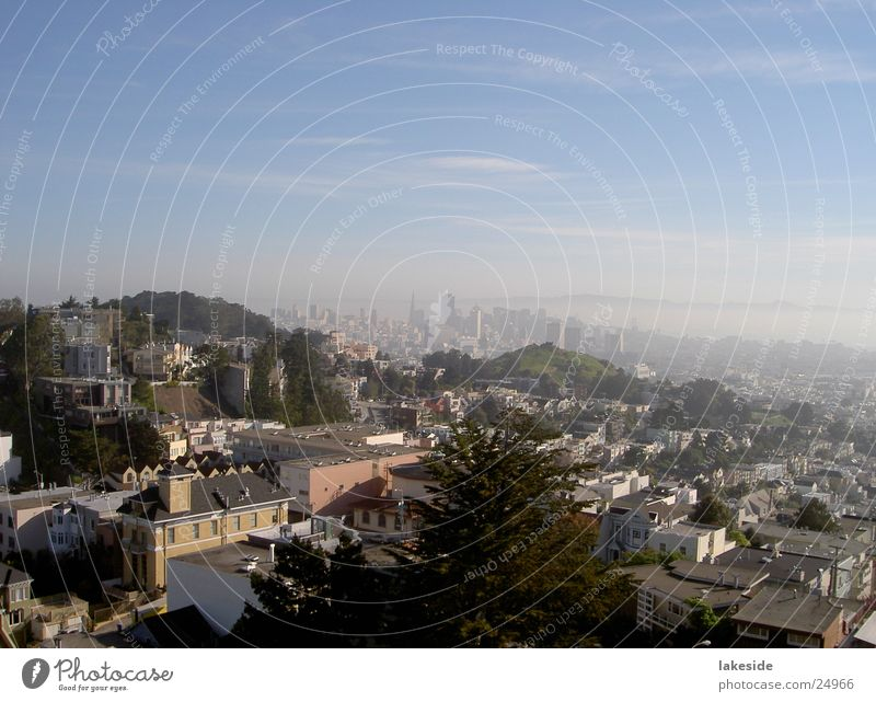 View of San Francisco Downtown Town Fog North America USA SF