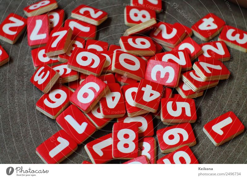 lettuce numbers Joy Happy Leisure and hobbies Game of chance Lottery Children's game Sign Digits and numbers Playing Red White Blackboard Wood Colour photo