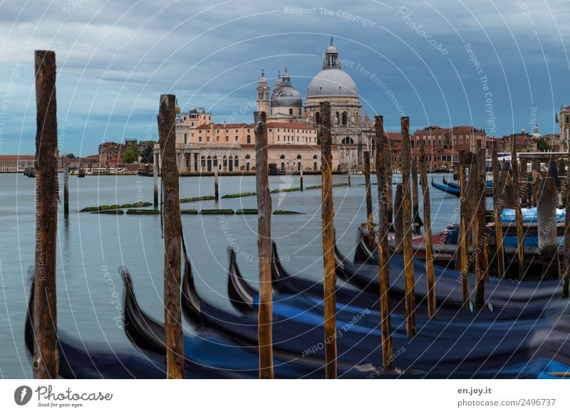 gondola around Vacation & Travel Sightseeing City trip Summer vacation Clouds Sunrise Sunset Ocean Venice Italy Europe Town Port City Old town Church Domed roof