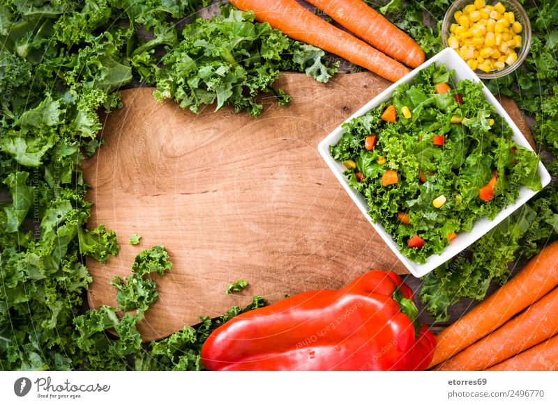 Kale salad Food Vegetable Lettuce Salad Nutrition Lunch Organic produce Vegetarian diet Diet Bowl Healthy Health care Good Yellow Green Orange Red Maize Pepper