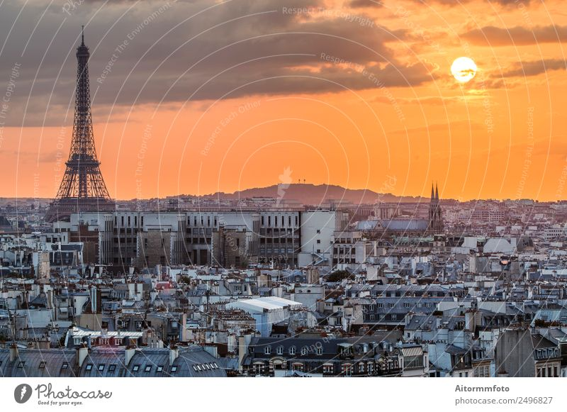View of Paris with Eiffel tower silhouette at sunset Vacation & Travel Tourism Culture Landscape Sky Horizon Skyline Architecture Aircraft Historic Colour