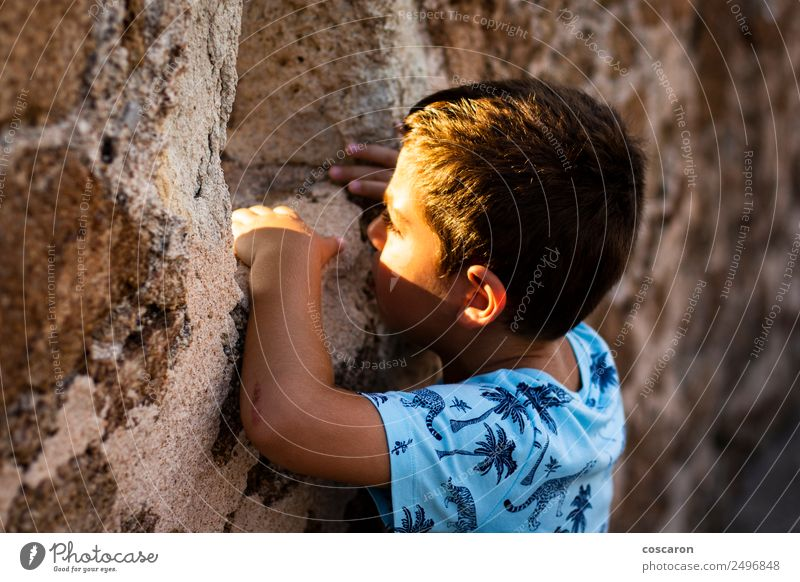Little boy looking through the wall of a castle Child Human being Man Face Adults Wood Grass Boy (child) Playing Rock Church Infancy Action Observe Peak Castle