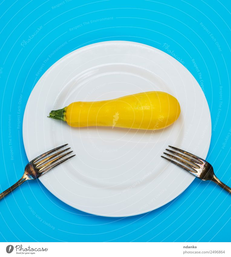 squash in a white ceramic plate Vegetable Nutrition Eating Vegetarian diet Diet Plate Fork Lifestyle Health care Fresh Long Natural Blue Yellow White Colour