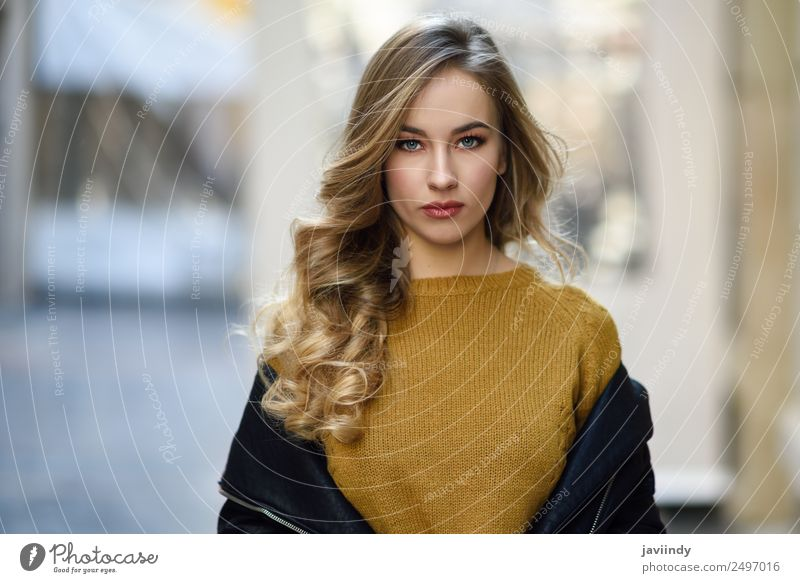 Blonde russian woman in urban background Woman Human being Youth (Young adults) Young woman Beautiful White 18 - 30 years Street Adults Feminine Style Fashion