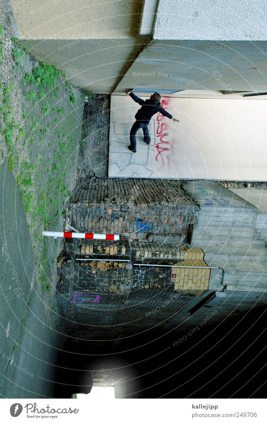 my circus is the street Human being Masculine Man Adults 1 Bridge Tunnel Facade Stand Underpass Passage tunnel end Light Parkour Corner Colour photo