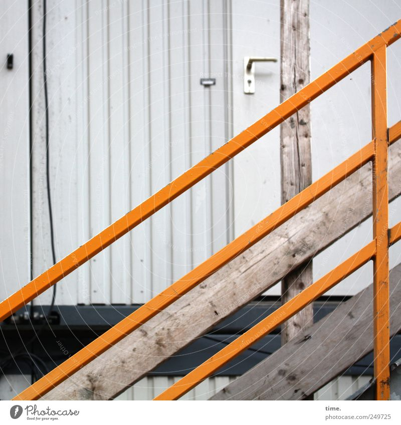 House (Residential Structure) Yellow Wood Door Stairs Safety Cable Construction site Protection Handrail Diagonal Hut Banister Barrier Vertical Door handle