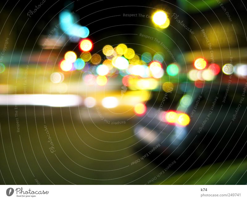city lights Town Downtown Deserted Transport Traffic infrastructure Road traffic Motoring Street Traffic light Vehicle Car Driving Illuminate Colour photo