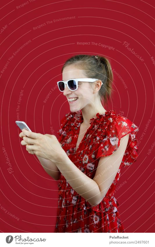 #A# Typing 1 Human being Communicate Mobility Fashion Feeble Advertising Cellphone Mobile communications Chat Woman Young woman Sunglasses Dress Red