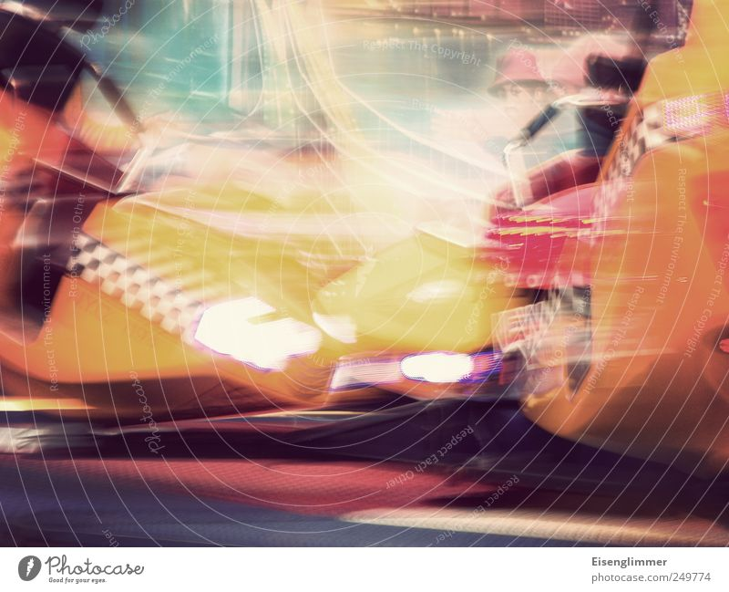 collision course Fairs & Carnivals Bright Near Speed Multicoloured Yellow Flexible Movement Carousel Swing Spirited Visual spectacle Abstract Long exposure