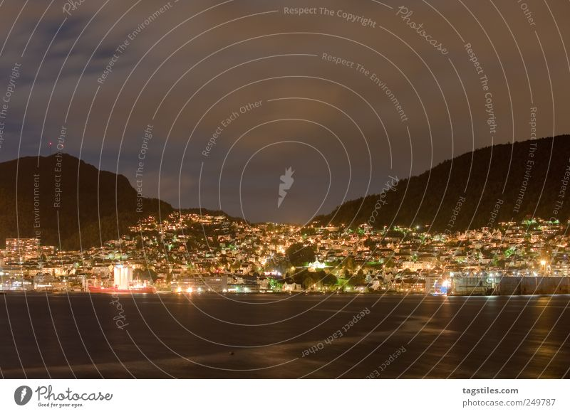 MOUNTAINS Wide angle Bergen Town Night Twilight Atlantic Ocean Port City Europe Norway Long exposure Reflection Surface of water Water reflection Night sky