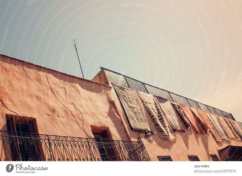 That's where Aladdin lives. Marrakesh Morocco Town Old town House (Residential Structure) Riyadh Balcony Window Door Roof Esthetic Beautiful Dry Warmth Carpet
