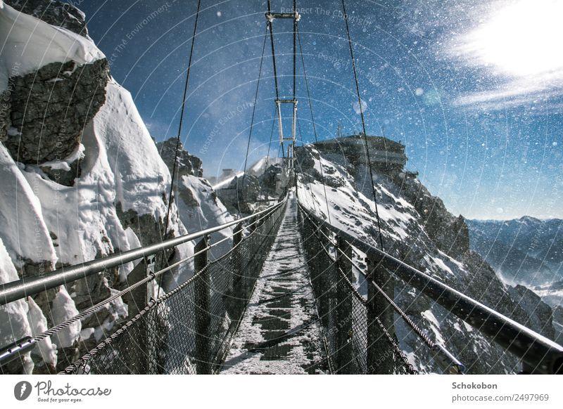 test of courage Vacation & Travel Trip Adventure Far-off places Winter Snow Mountain Landscape Snowfall Glacier Bridge Stone Metal Tall Bravery Trust Attentive