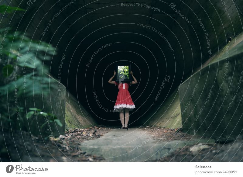 Woman Human being Adults Architecture Feminine Concrete Manmade structures Dress Mirror Creepy Tunnel Mirror image
