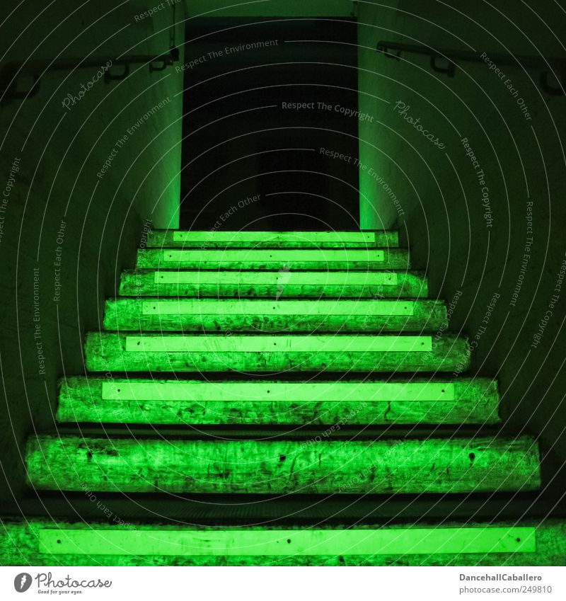 illuminated staircase in green Stairs Cellar Building Staircase (Hallway) Escape route Way out Architecture Dark Concrete Exit route Creepy Green Black Fear