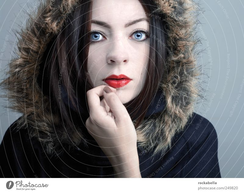 snow. Feminine Young woman Youth (Young adults) Woman Adults 1 Human being 18 - 30 years Fashion Clothing Jacket Coat Pelt Black-haired Brunette Esthetic