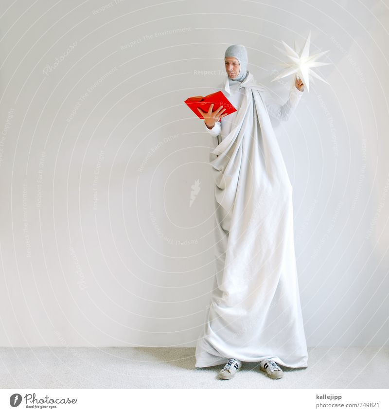 Human being Man Red Adults Lamp Leisure and hobbies Masculine Large Stand Book Stars Reading Education Angel Wrinkle Fairy tale