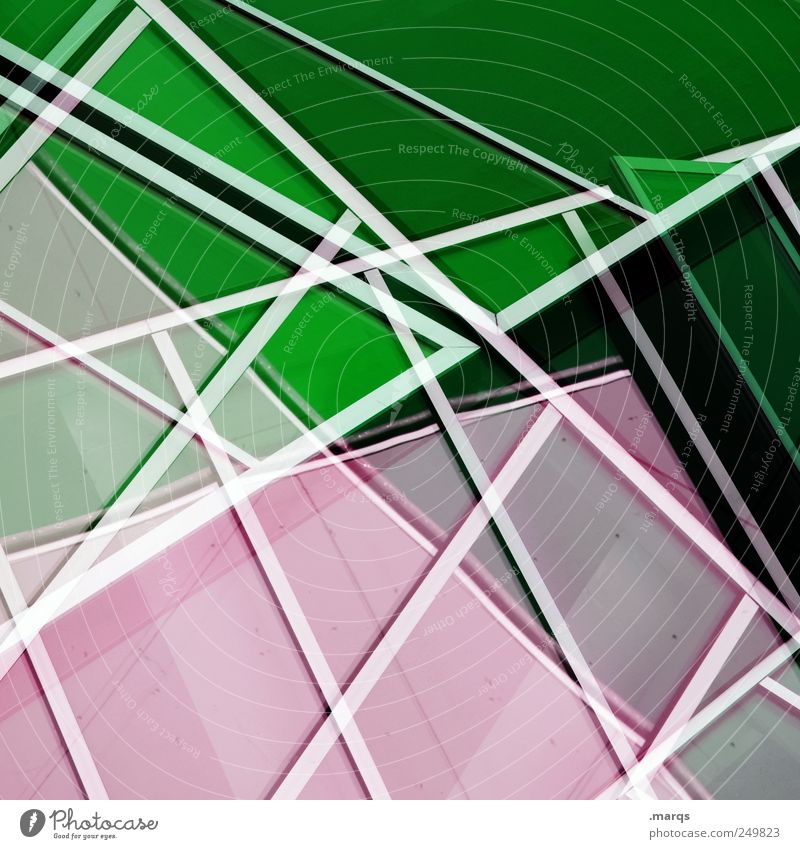 inline Elegant Style Design Facade Line Stripe Exceptional Cool (slang) Hip & trendy Uniqueness Clean Green Pink White Chaos Complex Perspective Planning