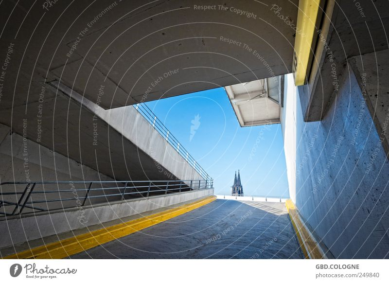 Sky Blue City Far-off places Yellow Gray Architecture Building Bright Concrete Large Tourism Church Exceptional Firm