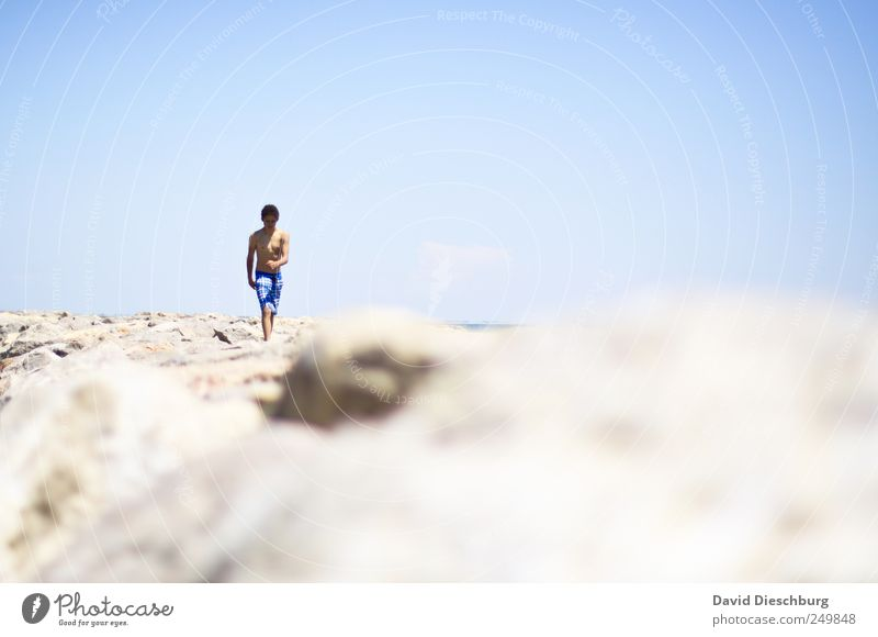 Day at the sea Relaxation Vacation & Travel Freedom Summer Summer vacation Beach Human being Young man Youth (Young adults) 1 18 - 30 years Adults Blue White