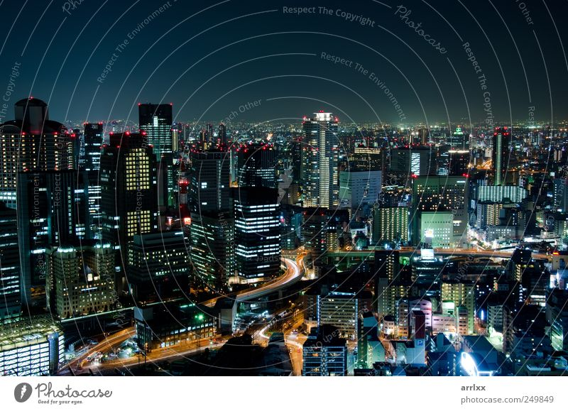 Skyline of Osaka City in Japan at night City Vacation & Travel Landscape Building Business Horizon High-rise Modern Industry Living or residing Logistics Bank building Asia Skyline Luxury Economy