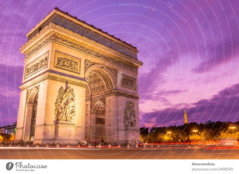 Arc de triomphe at sunset with violet sky Vacation & Travel Tourism Sightseeing Culture Landscape Architecture Monument Street Dark Historic arc Arc de Triomphe