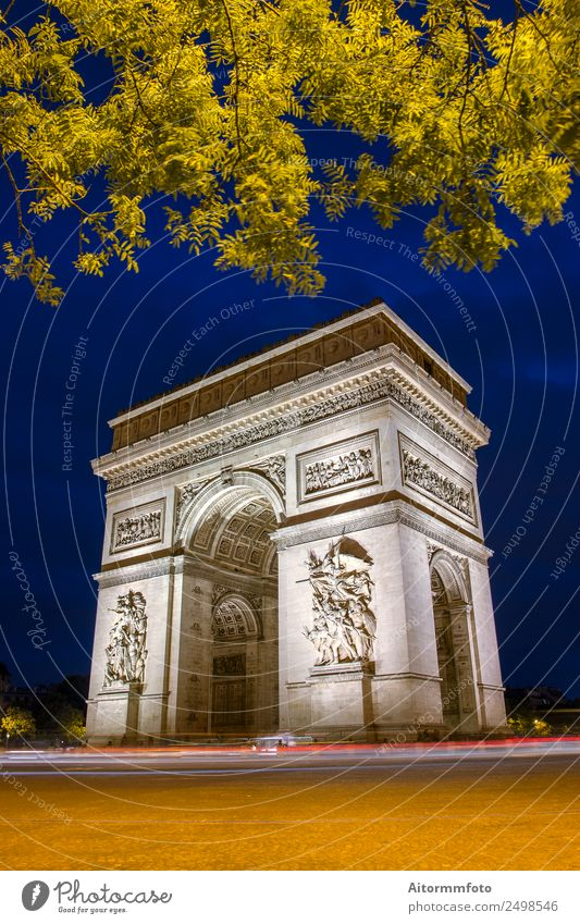 Arc de triomphe in Paris with blue sky at night Vacation & Travel Tourism Sightseeing Culture Landscape Architecture Monument Street Dark Historic arc